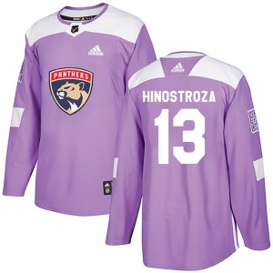 Men's Florida Panthers Vinnie Hinostroza Adidas Authentic Fights Cancer Practice Jersey - Purple