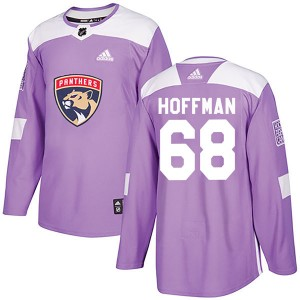 Men's Florida Panthers Mike Hoffman Adidas Authentic Fights Cancer Practice Jersey - Purple