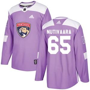 Men's Florida Panthers Markus Nutivaara Adidas Authentic Fights Cancer Practice Jersey - Purple
