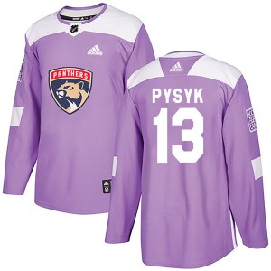 Men's Florida Panthers Mark Pysyk Adidas Authentic Fights Cancer Practice Jersey - Purple