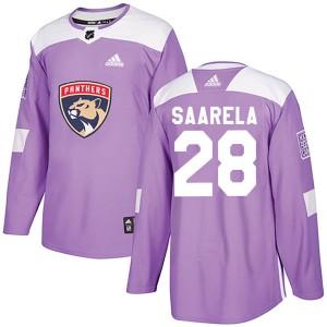 Men's Florida Panthers Aleksi Saarela Adidas Authentic ized Fights Cancer Practice Jersey - Purple