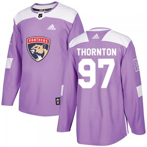 Men's Florida Panthers Joe Thornton Adidas Authentic Fights Cancer Practice Jersey - Purple
