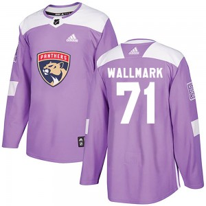 Men's Florida Panthers Lucas Wallmark Adidas Authentic ized Fights Cancer Practice Jersey - Purple