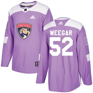 Men's Florida Panthers MacKenzie Weegar Adidas Authentic Fights Cancer Practice Jersey - Purple