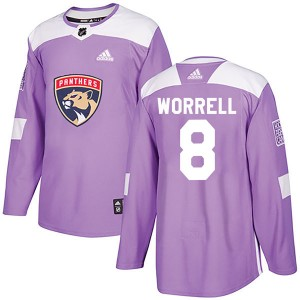 Men's Florida Panthers Peter Worrell Adidas Authentic Fights Cancer Practice Jersey - Purple