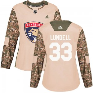 Women's Florida Panthers Anton Lundell Adidas Authentic Veterans Day Practice Jersey - Camo