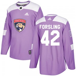 Youth Florida Panthers Gustav Forsling Adidas Authentic Fights Cancer Practice Jersey - Purple