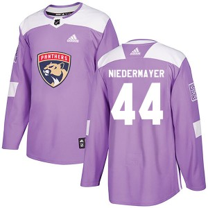 Youth Florida Panthers Rob Niedermayer Adidas Authentic Fights Cancer Practice Jersey - Purple