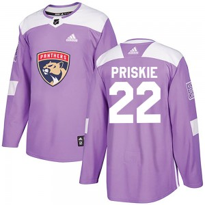 Youth Florida Panthers Chase Priskie Adidas Authentic Fights Cancer Practice Jersey - Purple