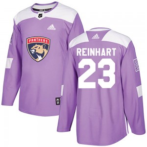 Youth Florida Panthers Sam Reinhart Adidas Authentic Fights Cancer Practice Jersey - Purple