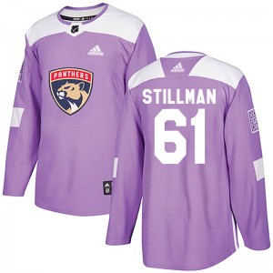 Youth Florida Panthers Riley Stillman Adidas Authentic Fights Cancer Practice Jersey - Purple