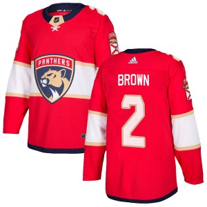 Youth Florida Panthers Josh Brown Adidas Authentic Home Jersey - Red