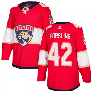 Youth Florida Panthers Gustav Forsling Adidas Authentic Home Jersey - Red