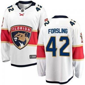 Youth Florida Panthers Gustav Forsling Fanatics Branded Breakaway Away Jersey - White