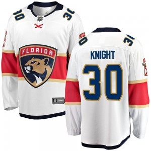 Youth Florida Panthers Spencer Knight Fanatics Branded Breakaway Away Jersey - White