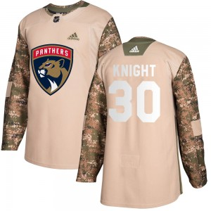 Youth Florida Panthers Spencer Knight Adidas Authentic Veterans Day Practice Jersey - Camo