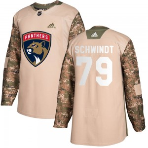 Youth Florida Panthers Cole Schwindt Adidas Authentic Veterans Day Practice Jersey - Camo