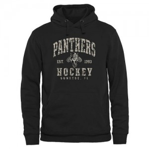 Men's Florida Panthers Camo Stack Pullover Hoodie - Black
