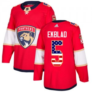 Men's Florida Panthers Aaron Ekblad Adidas Authentic USA Flag Fashion Jersey - Red