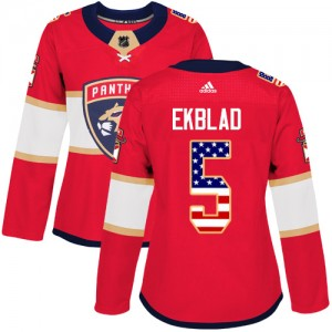 Women's Florida Panthers Aaron Ekblad Adidas Authentic USA Flag Fashion Jersey - Red