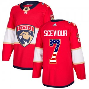 Youth Florida Panthers Colton Sceviour Adidas Authentic USA Flag Fashion Jersey - Red