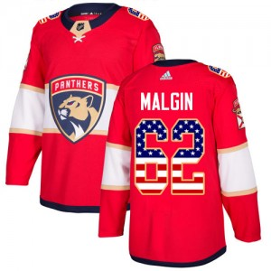 Men's Florida Panthers Denis Malgin Adidas Authentic USA Flag Fashion Jersey - Red