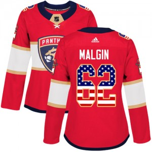 Women's Florida Panthers Denis Malgin Adidas Authentic USA Flag Fashion Jersey - Red