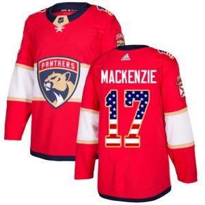 Men's Florida Panthers Derek Mackenzie Adidas Authentic Derek MacKenzie USA Flag Fashion Jersey - Red