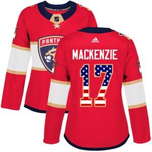 Women's Florida Panthers Derek Mackenzie Adidas Authentic Derek MacKenzie USA Flag Fashion Jersey - Red