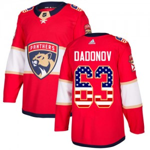 Men's Florida Panthers Evgenii Dadonov Adidas Authentic USA Flag Fashion Jersey - Red