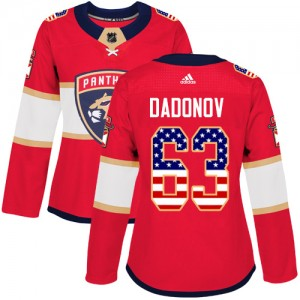 Women's Florida Panthers Evgenii Dadonov Adidas Authentic USA Flag Fashion Jersey - Red