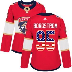 Women's Florida Panthers Henrik Borgstrom Adidas Authentic USA Flag Fashion Jersey - Red