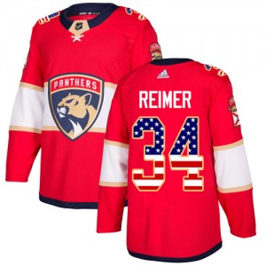 Men's Florida Panthers James Reimer Adidas Authentic USA Flag Fashion Jersey - Red