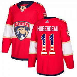 Men's Florida Panthers Jonathan Huberdeau Adidas Authentic USA Flag Fashion Jersey - Red