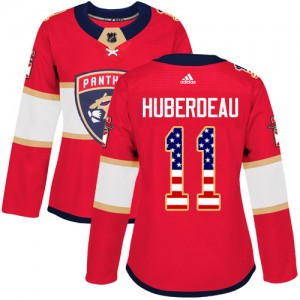 Women's Florida Panthers Jonathan Huberdeau Adidas Authentic USA Flag Fashion Jersey - Red