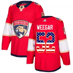 Men's Florida Panthers MacKenzie Weegar Adidas Authentic USA Flag Fashion Jersey - Red