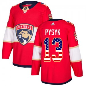 Men's Florida Panthers Mark Pysyk Adidas Authentic USA Flag Fashion Jersey - Red