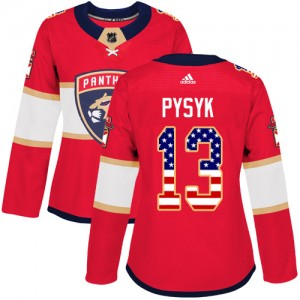 Women's Florida Panthers Mark Pysyk Adidas Authentic USA Flag Fashion Jersey - Red