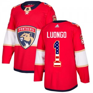 Men's Florida Panthers Roberto Luongo Adidas Authentic USA Flag Fashion Jersey - Red