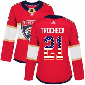Women's Florida Panthers Vincent Trocheck Adidas Authentic USA Flag Fashion Jersey - Red