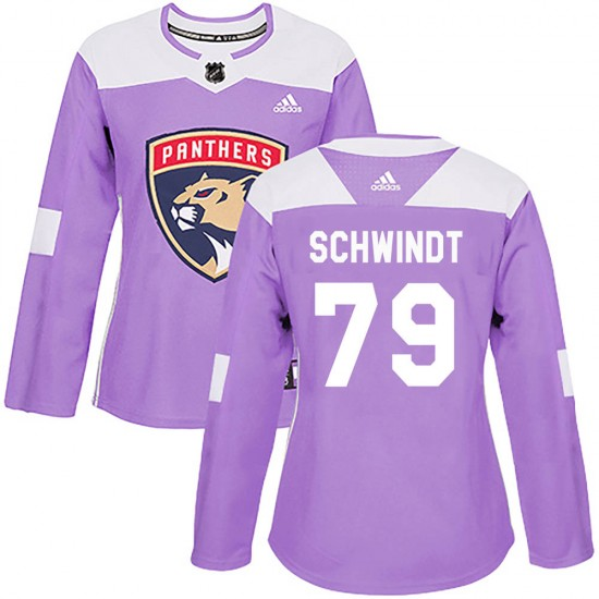 Women's Florida Panthers Cole Schwindt Adidas Authentic Fights Cancer Practice Jersey - Purple