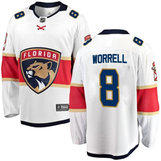 Men's Florida Panthers Peter Worrell Fanatics Branded Breakaway Away Jersey - White