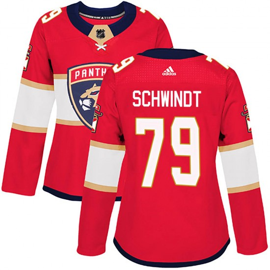 Women's Florida Panthers Cole Schwindt Adidas Authentic Home Jersey - Red