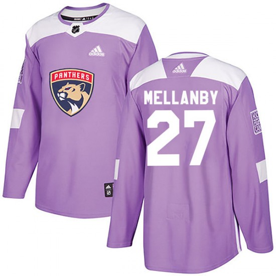 Men's Florida Panthers Scott Mellanby Adidas Authentic Fights Cancer Practice Jersey - Purple