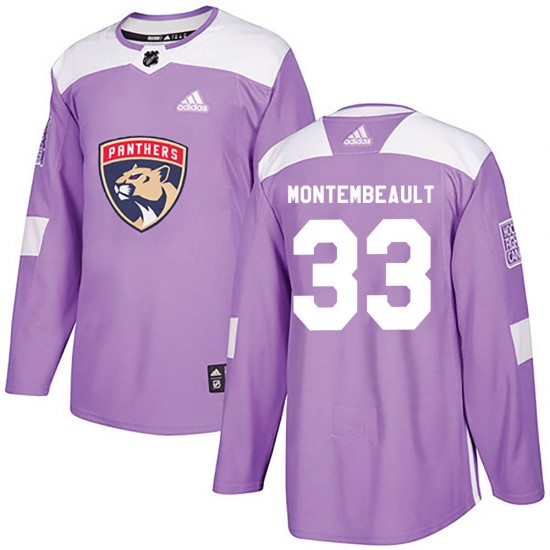 Men's Florida Panthers Sam Montembeault Adidas Authentic Fights Cancer Practice Jersey - Purple