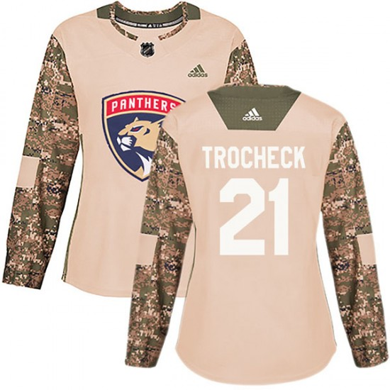 Women s Florida Panthers Vincent Trocheck Adidas Authentic Veterans Day  Practice Jersey - Camo a8be9d3c2