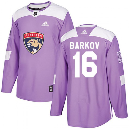 Youth Florida Panthers Aleksander Barkov Adidas Authentic Fights Cancer Practice Jersey - Purple