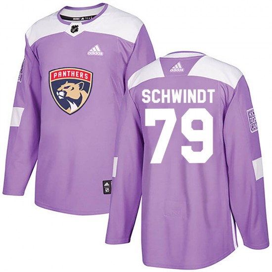 Youth Florida Panthers Cole Schwindt Adidas Authentic Fights Cancer Practice Jersey - Purple