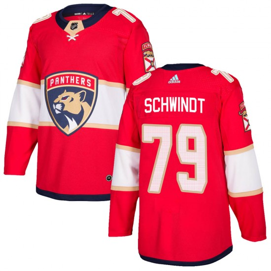 Youth Florida Panthers Cole Schwindt Adidas Authentic Home Jersey - Red