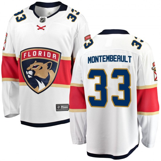 Youth Florida Panthers Sam Montembeault Fanatics Branded Breakaway Away Jersey - White